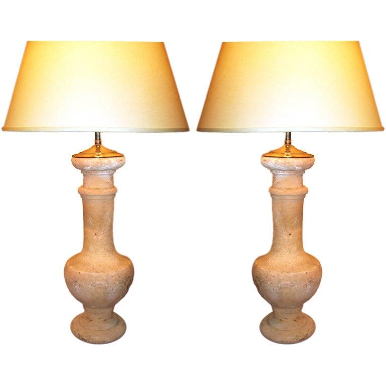 Pair Of Terra Cotta Balluster Lamps