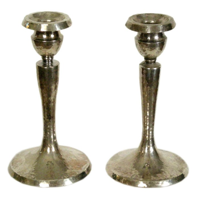 Pair Of Arts And Crafts Period Candlesticks At 1stdibs