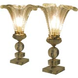 PAIR OF 1930s GLASS FEATHER  LAMPS