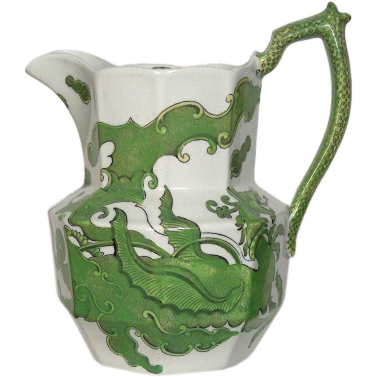 Staffordshire Green And White Dragon Pitcher At 1stdibs