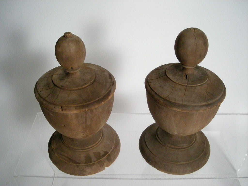 pair of large wood 19th c neoclassical style finials at