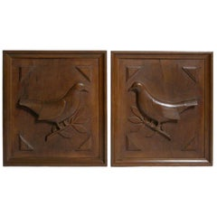 PAIR OF WOOD CARVED DOVES ON OLIVE BRANCHES