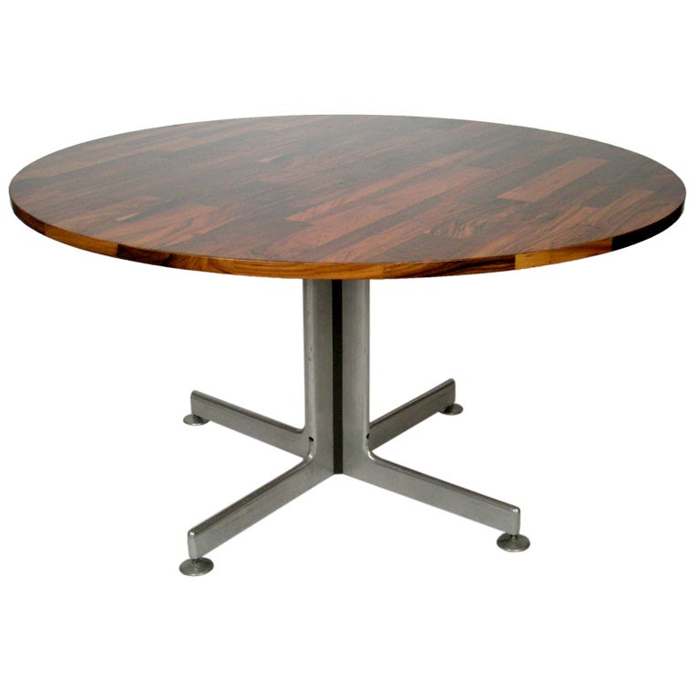 1960s brazilian rosewood 54 round table with metal base