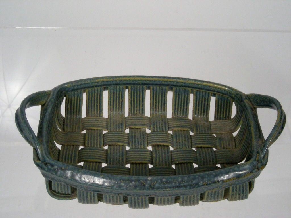 Basket Making Supplies North Carolina : Parmentier blue pottery basket at stdibs