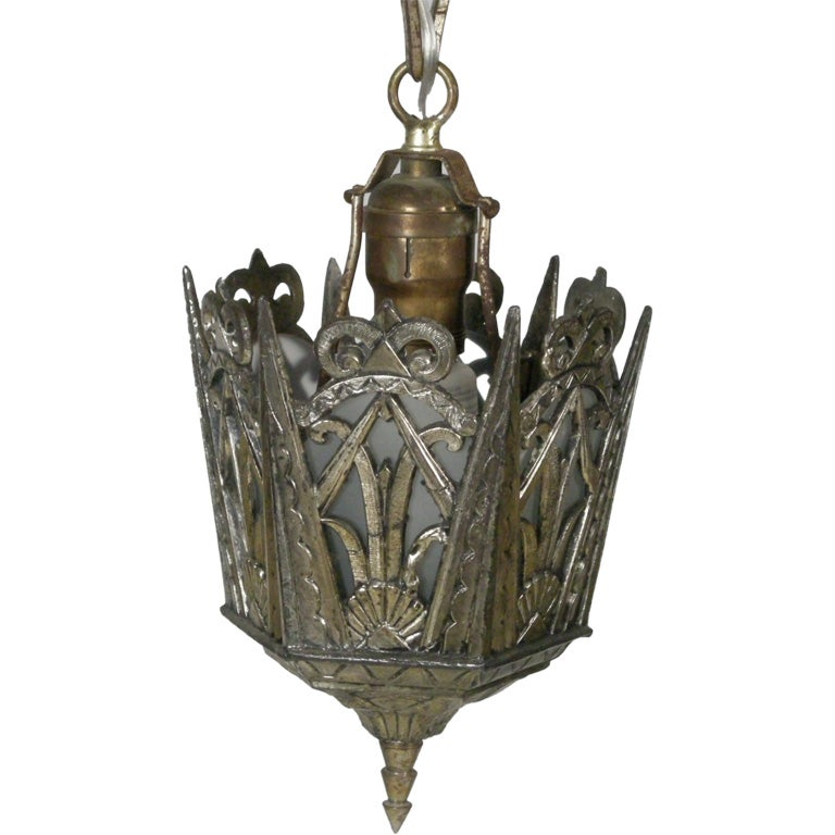 Art Deco Outdoor Hanging Lights: SMALL ART DECO PERIOD HANGING LIGHT FIXTURE At 1stdibs