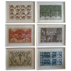 COLLECTION OF 4 FRAMED WHIMSICAL HAND BLOCK PRINTED TEXTILES