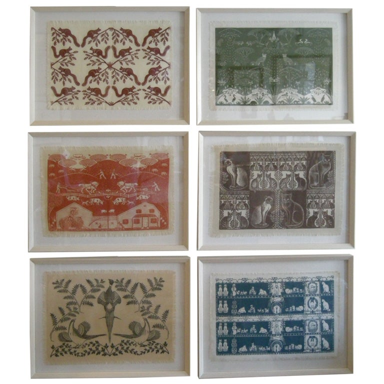 COLLECTION OF 4 FRAMED WHIMSICAL HAND BLOCK PRINTED TEXTILES For Sale