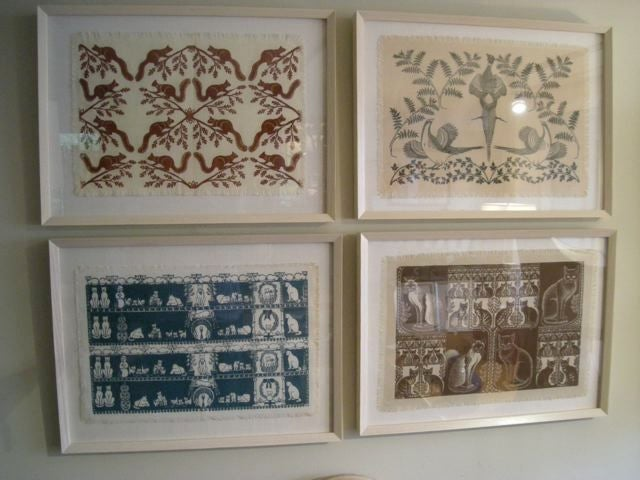 American COLLECTION OF 4 FRAMED WHIMSICAL HAND BLOCK PRINTED TEXTILES For Sale