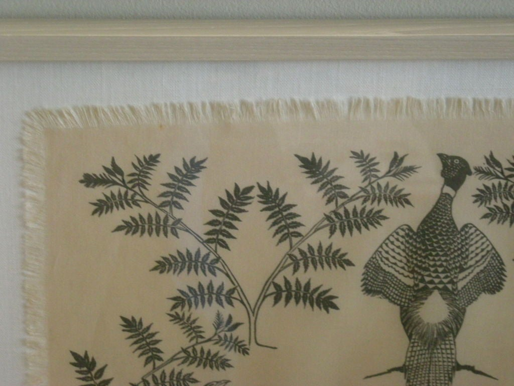 COLLECTION OF 4 FRAMED WHIMSICAL HAND BLOCK PRINTED TEXTILES For Sale 3