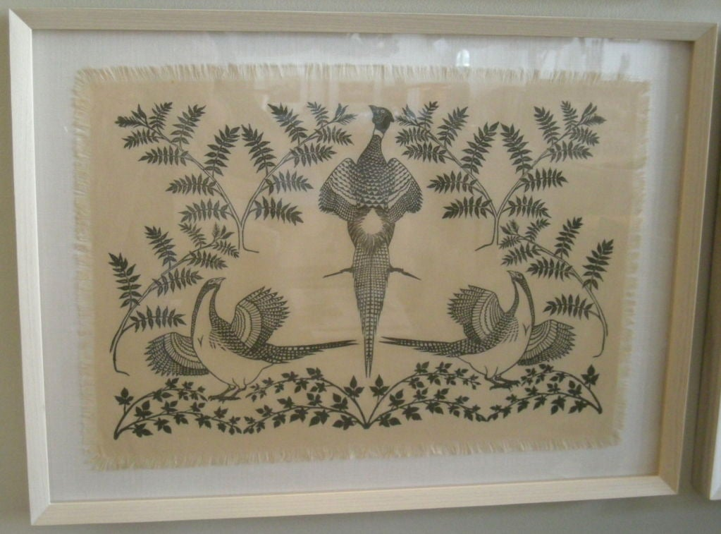 COLLECTION OF 4 FRAMED WHIMSICAL HAND BLOCK PRINTED TEXTILES For Sale 2