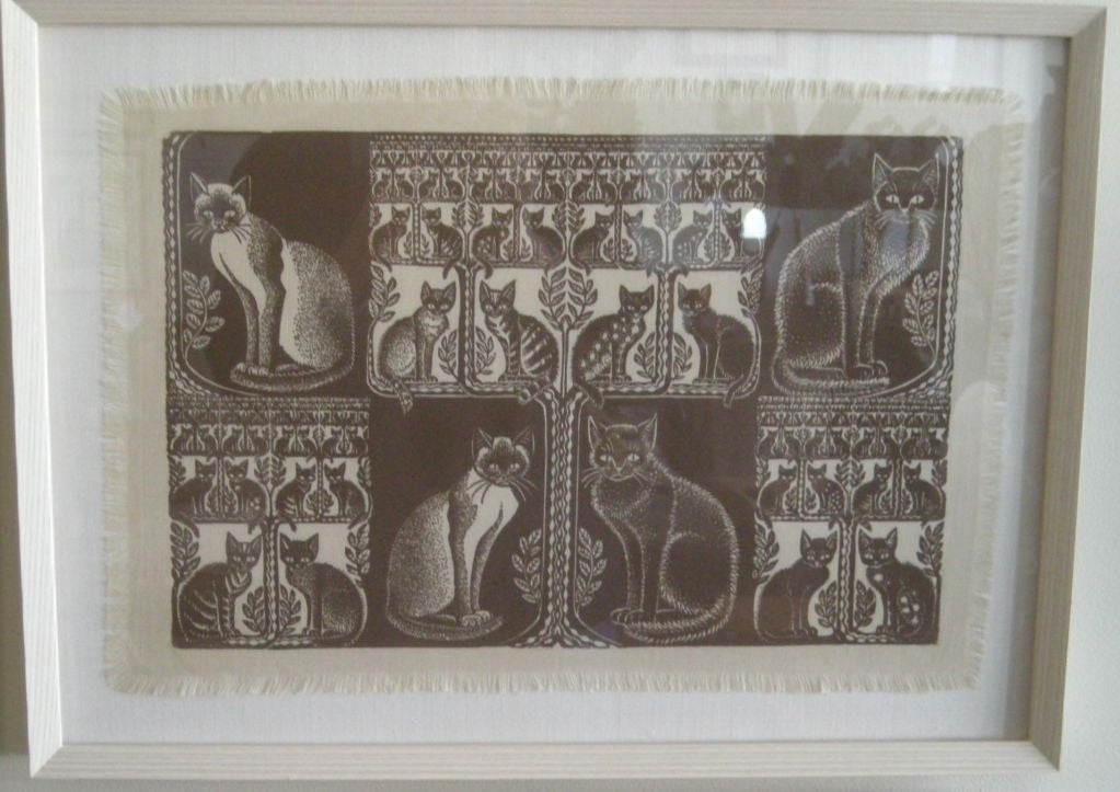 Hand-Carved COLLECTION OF 4 FRAMED WHIMSICAL HAND BLOCK PRINTED TEXTILES For Sale
