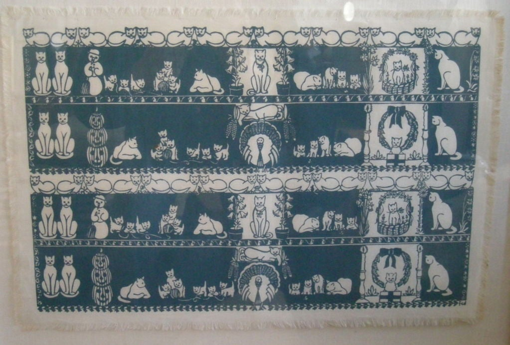COLLECTION OF 4 FRAMED WHIMSICAL HAND BLOCK PRINTED TEXTILES For Sale 1