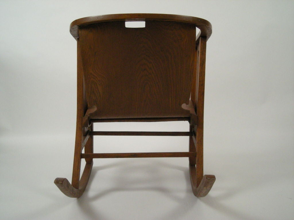 Graphic Arts And Crafts Period Rocking Chair At 1stdibs