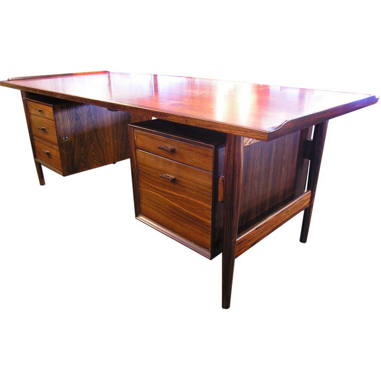The Downing Street Executive Curio Desk: Danish Rosewood Desk By Arne Vodder For Sibast At 1stdibs