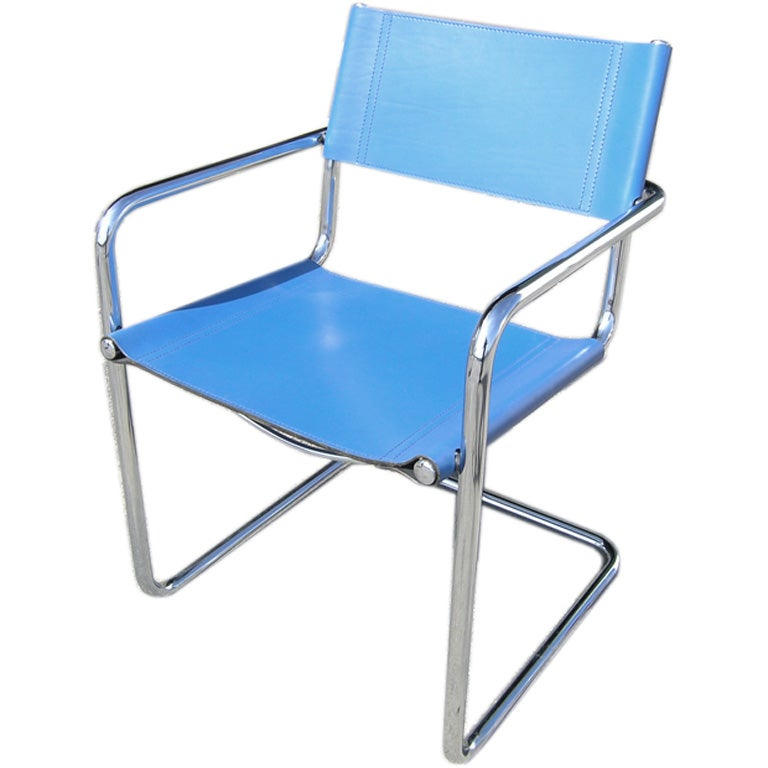 Superb 10 Tubular Chrome And Blue Leather Chairs By Matteo Grassi For Sale