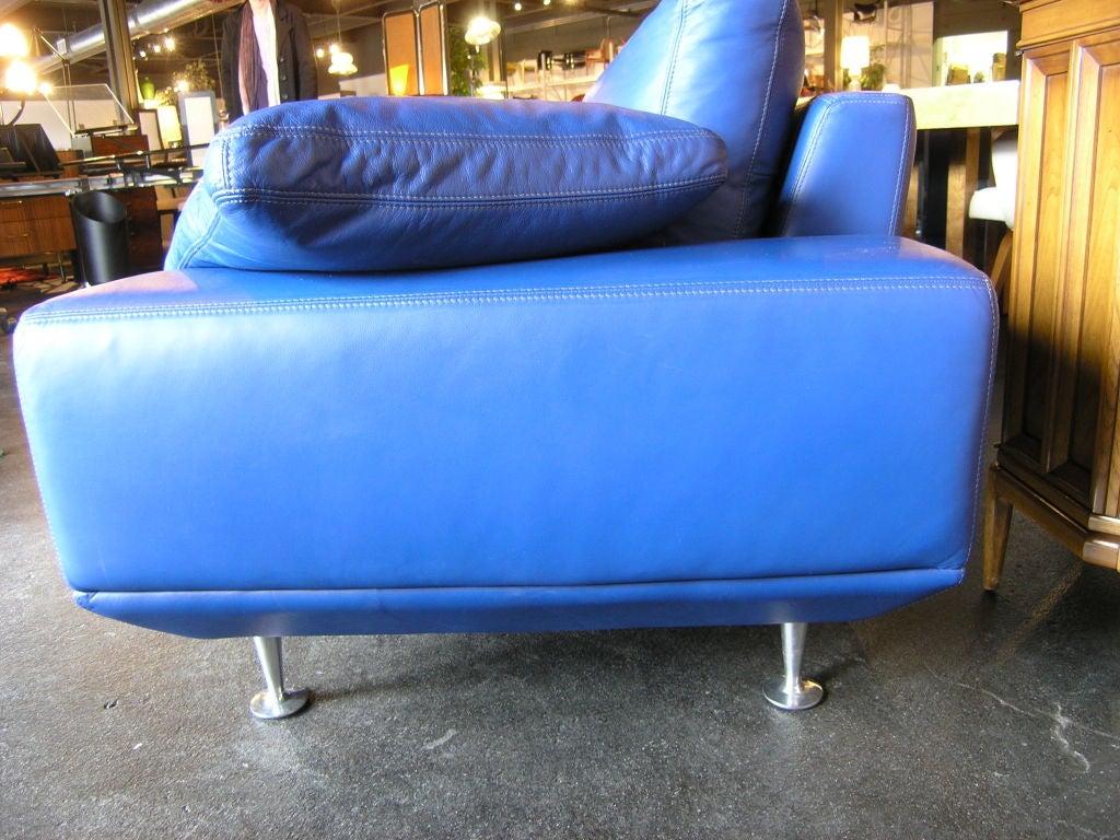 Blue Leather Sofa by Molinari at 1stdibs