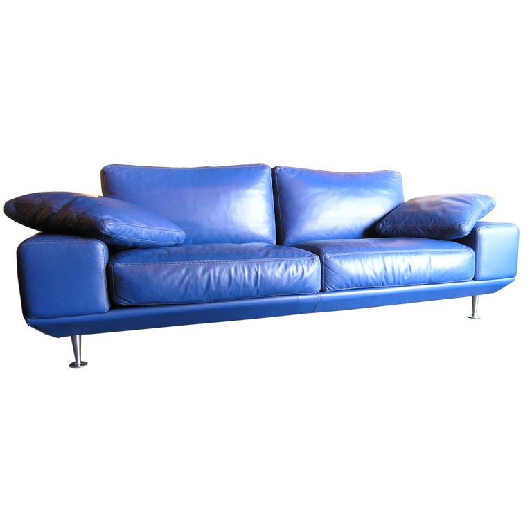 Blue Leather Sofa by Molinari at 1stdibs