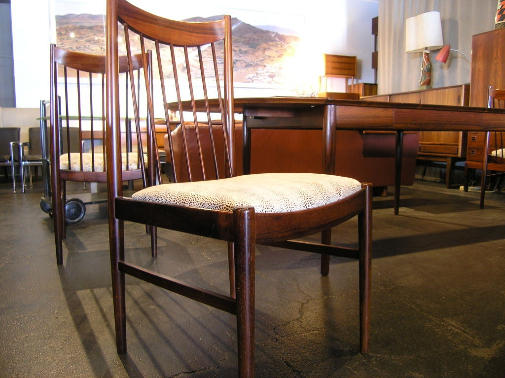 large rosewood dining table and 6 chairs by arne vodder at 1stdibs