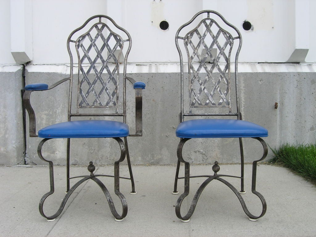 Set of six custom wrought iron chairs at 1stdibs for Wrought iron furniture