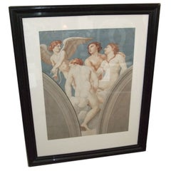 19th Century Watercolor Ceiling Study in Ebonizied Frame