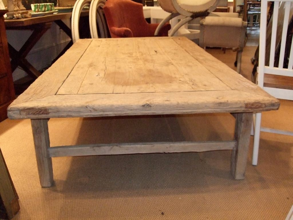 Large rustic plank top coffee table at 1stdibs for Large wood coffee table