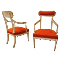 Pair of painted Neoclassical armchairs