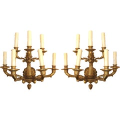 Pair of 19th Century Large-Scale Gilt Bronze Sconces