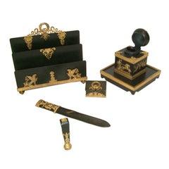 19th Century French Empire Bronze Desk Set