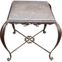 Vintage Iron Side Table with Slate Top