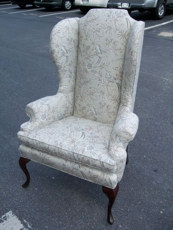 A newly upholstered high back Queen Anne style wing chair in grey/ blue  Scalamandre toile - High Back Wing Chair At 1stdibs