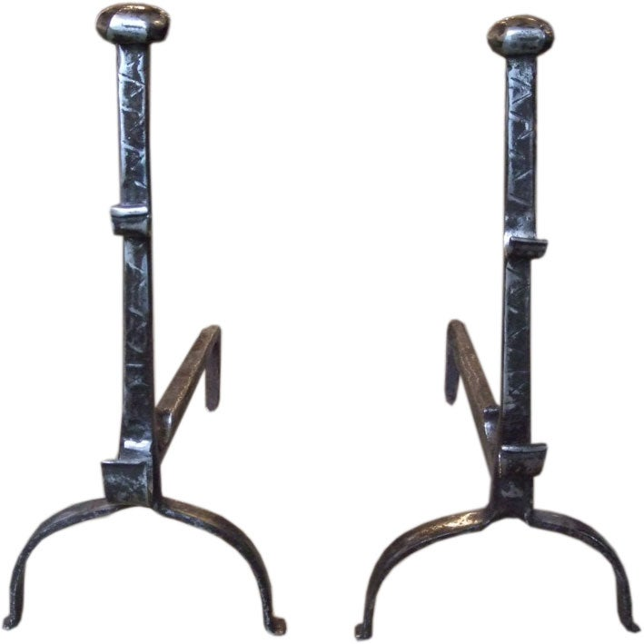 Pair of 18th Century Large-Scale Andirons