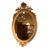 19th Century Large-Scale Gilt Mirror with Crest