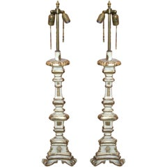 Pair of Early 19th Century Paint and Gilt Candlestick Lamps