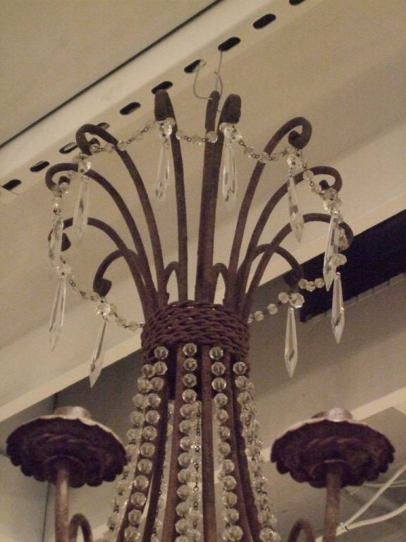 French Pair of Vintage Iron and Crystal Chandeliers For Sale