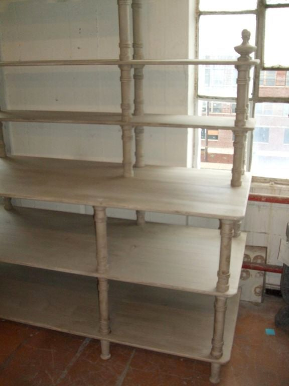 Grey Painted French Shelving Unit In Excellent Condition For Sale In Boston, MA