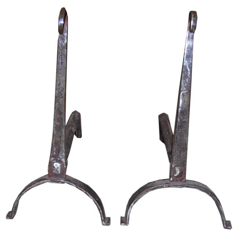 18th Century Scrolled Top Andirons