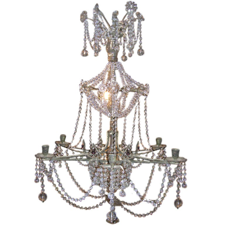 Antique crystal plafonniere with star shaped crystal ornaments for 19th century star shaped crystal and beaded chandelier aloadofball Image collections