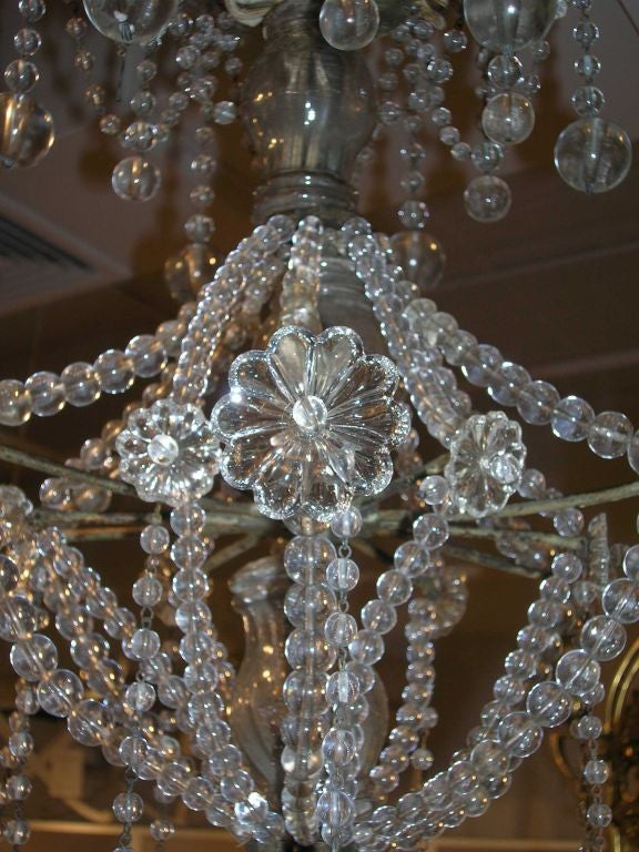 19th Century Star-Shaped Crystal and Beaded Chandelier For Sale 1