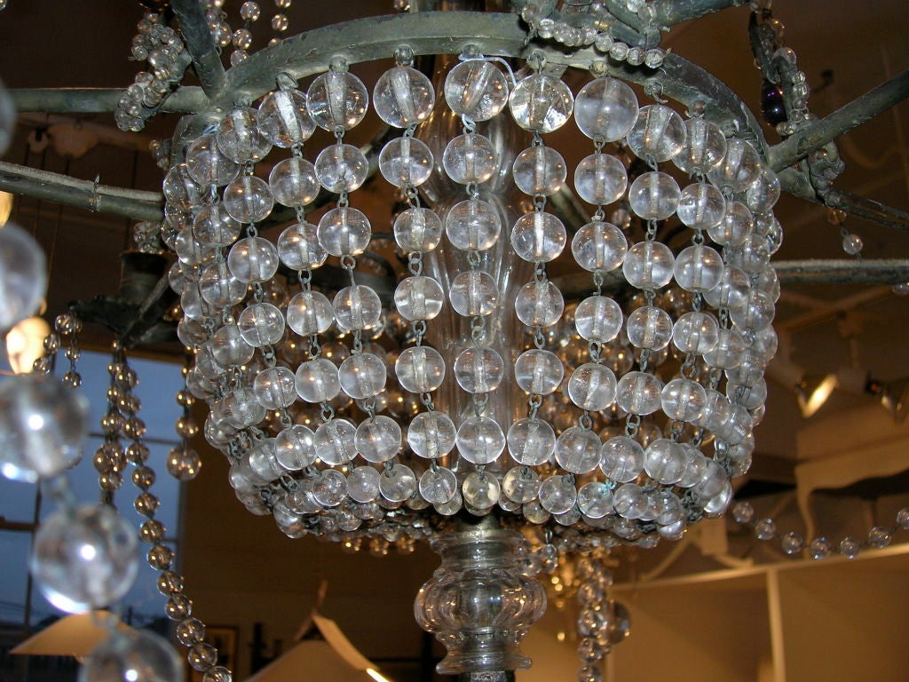 19th Century Star-Shaped Crystal and Beaded Chandelier For Sale 3