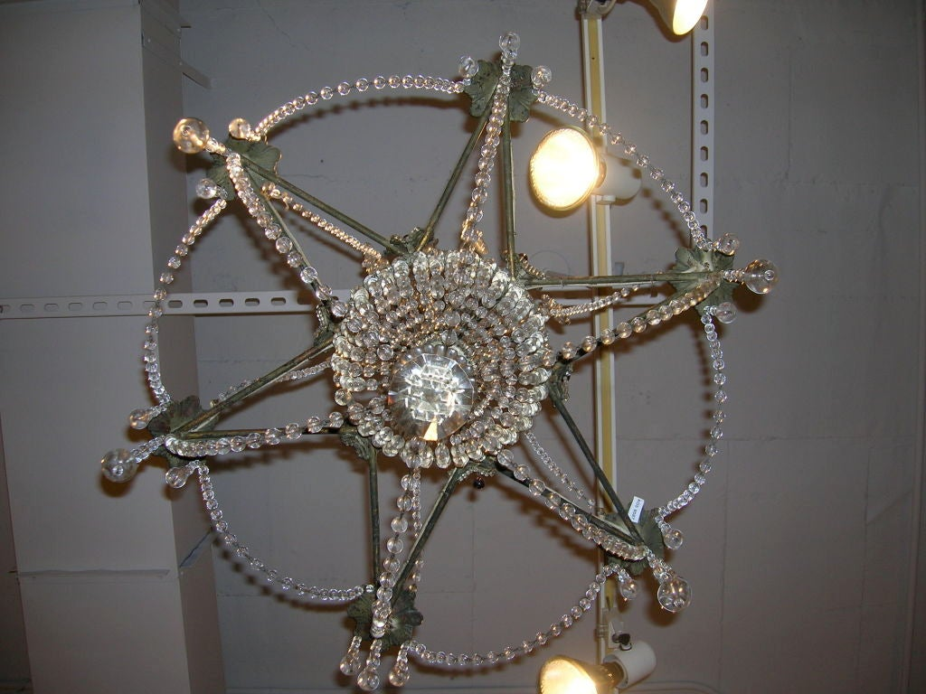 19th Century Star-Shaped Crystal and Beaded Chandelier For Sale 5
