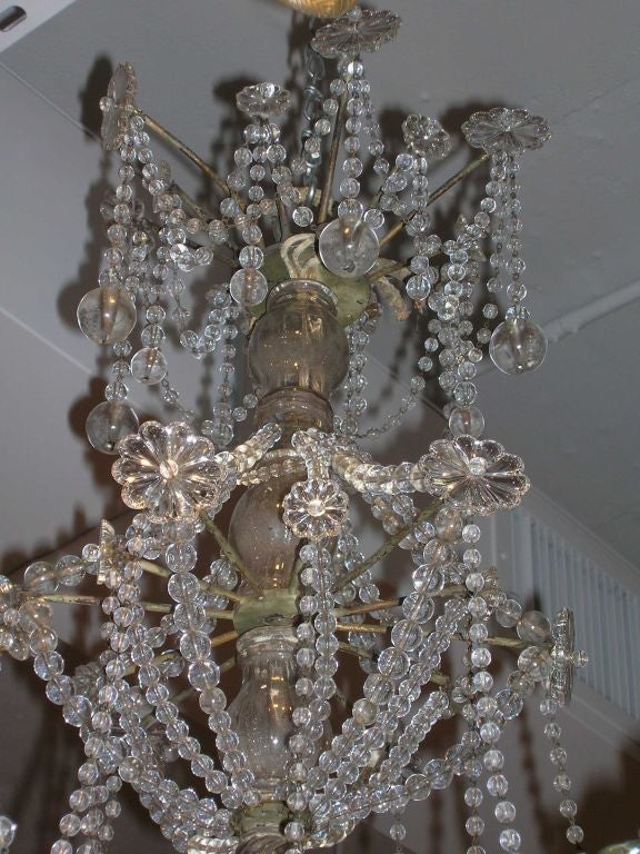 19th Century Star-Shaped Crystal and Beaded Chandelier In Excellent Condition For Sale In Boston, MA