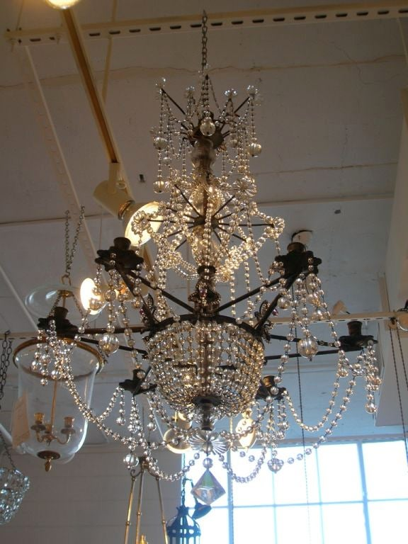 19th Century Star-Shaped Crystal and Beaded Chandelier For Sale 2