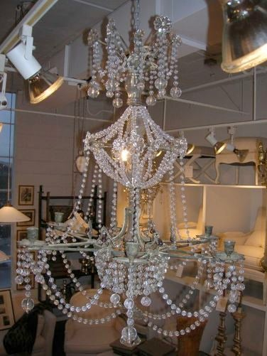 French 19th Century Star-Shaped Crystal and Beaded Chandelier For Sale