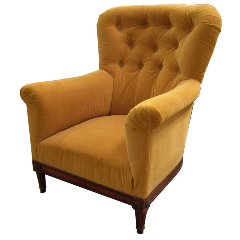 19th Century Tufted Club Chair For Sale at 1stdibs