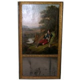 19th Century Trumeau Oil Painting with Mirror