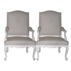 Pair of 19th Century Louis XV Style Bergere Armchairs