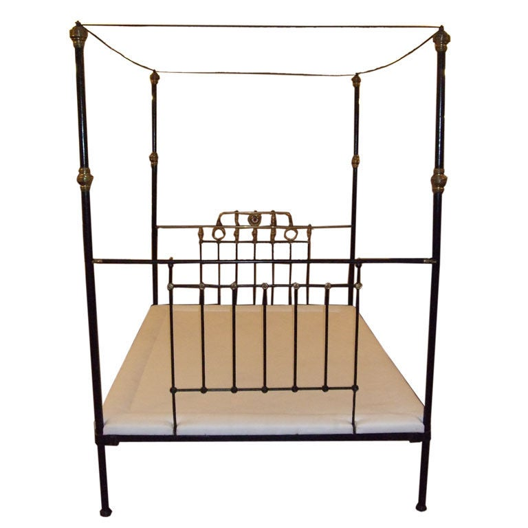 Four Poster Brass And Iron Queen Size Bed At 1stdibs