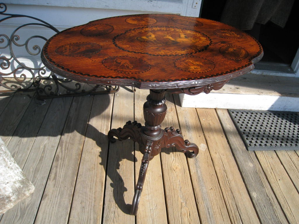 German Black Forest Walnut and Marquetry Tilt-Top Table For Sale