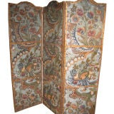 Flemish Painted Leather Three Panel Screen