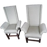 Pair George III Style Upholstered Wing Chairs